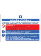 Coronavirus - Attention all visitors Desktop Sign