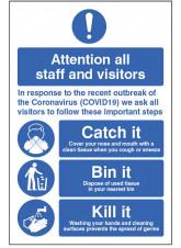 Coronavirus Floor Graphic - Catch it - Bin it - Kill it