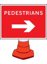 Pedestrians Arrow Right - Cone Sign - 600 x 450mm