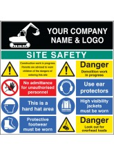 Site Safety Board with Logo - 1200 x 1200mm