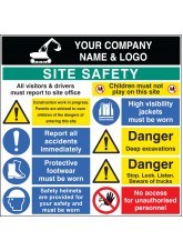Site Safety Board - 3mm PVC with Logo - 1200 x 1200mm