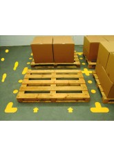 Yellow Floor Signal Markers (Feet) - 300 x 100mm (5 Right - 5 Left) (Pack of 10)