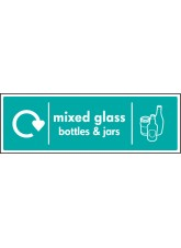 WRAP Recycling Sign - Mixed Glass Bottles & Jars