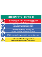 Coronavirus Site Safety Board with 5 Messages - 1m / 2m / Generic Distance Options